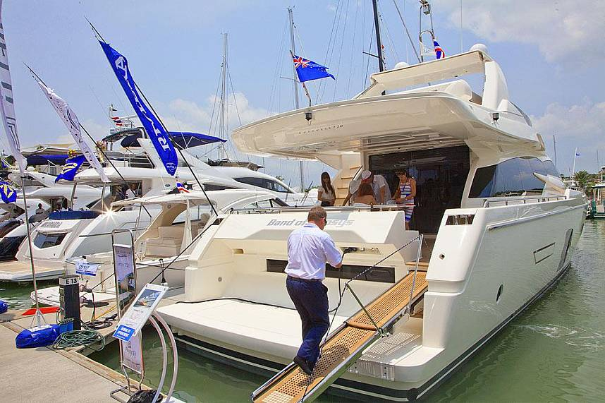 One of the many luxurious boats at Royal Phuket Marina