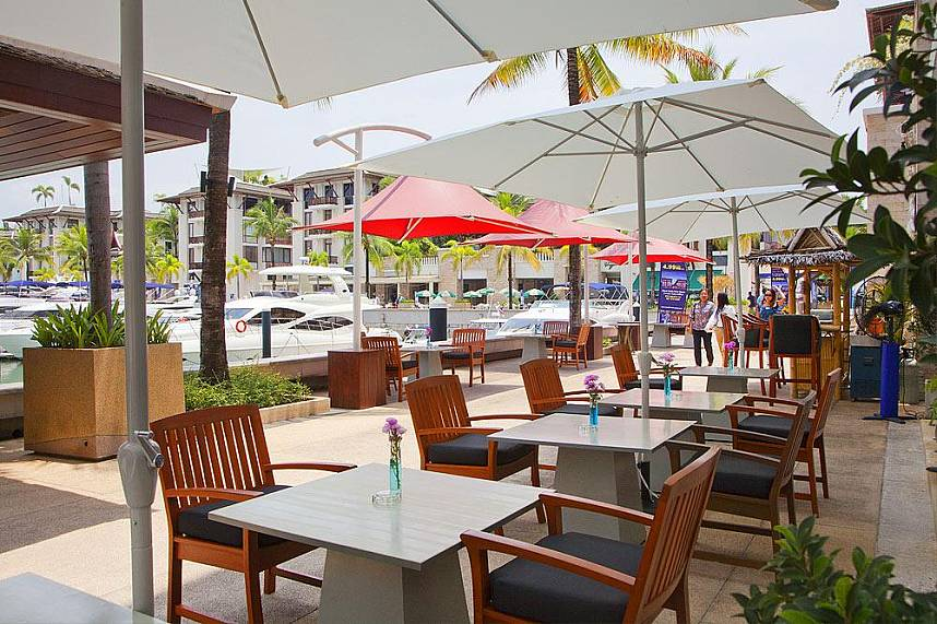Have a cold drink at one of the restaurants at Royal Phuket Marina