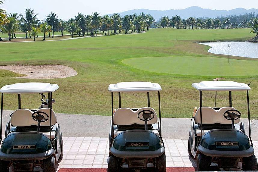 Golf karts are waiting for you Phuket Mission Hills Golf Course