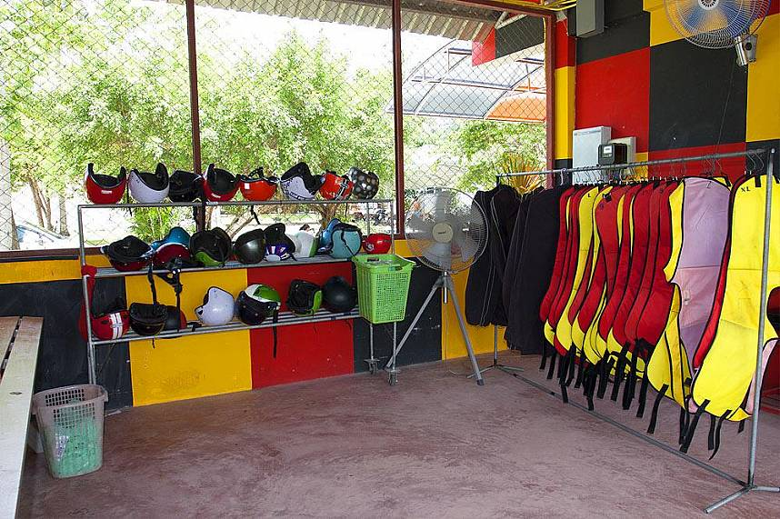 All the needed safety gear is ready for you at Phuket Racing Kart at Chalong