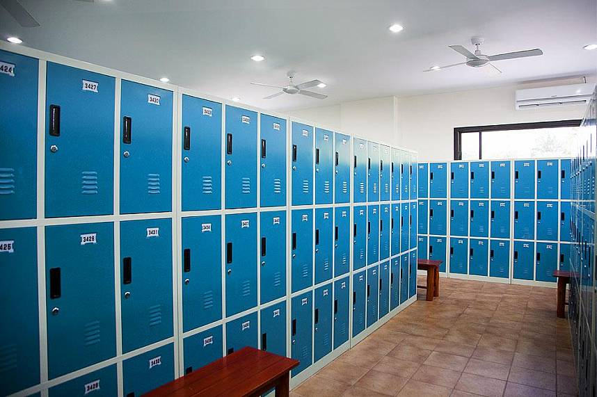Locker room at Splash Jungle Water Park in Phuket