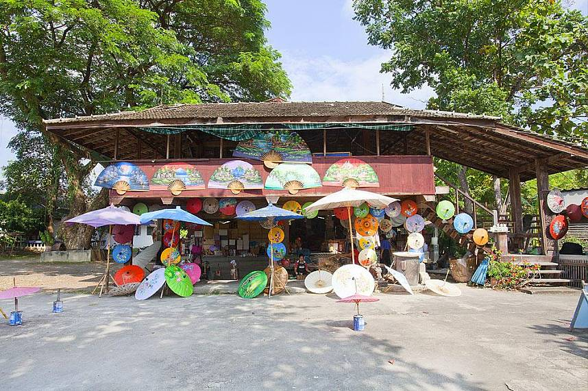 while on holiday in Northern Thailand you have to see the Bo Sang Umbrella Village in Chiang Mai