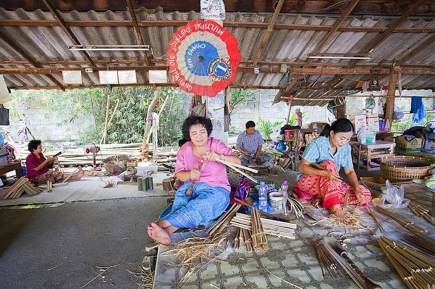 See every step of the umbrella production at Bo Sang Umbrella Village in Chiang Mai