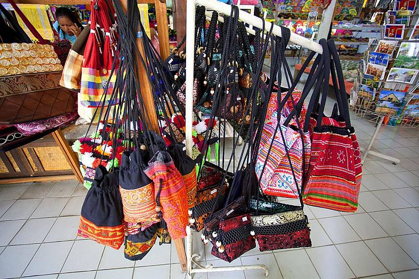 There are not only umbrellas for sell but a beautiful bags at Bo Sang Umbrella Village in Chiang Mai