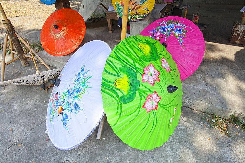 choose your unique handmade umbrella at Bo Sang Umbrella Village in Chiang Mai