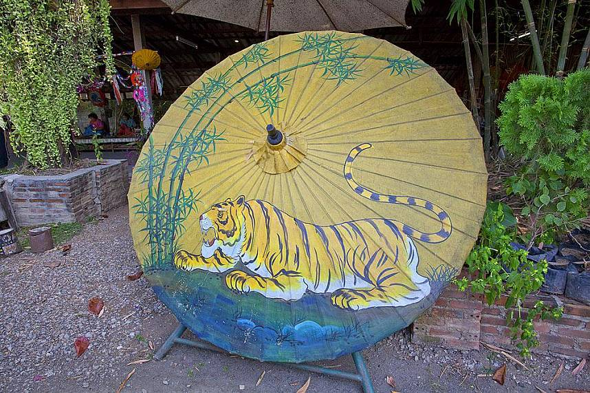 One of the master pieces at Bo Sang Umbrella Village in Chiang Mai