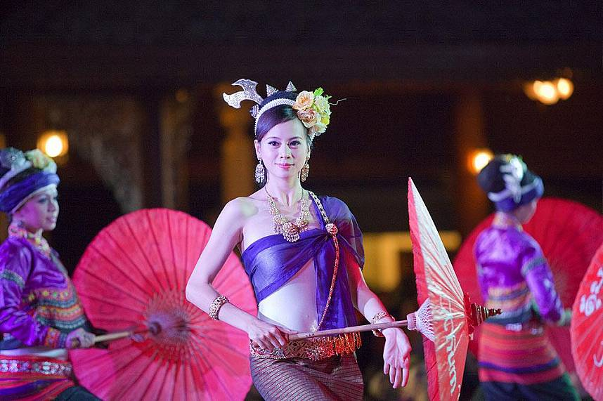 Beautiful girls show a unique Thai dance at Traditional Khantoke Dinner and Show in Chiang Mai