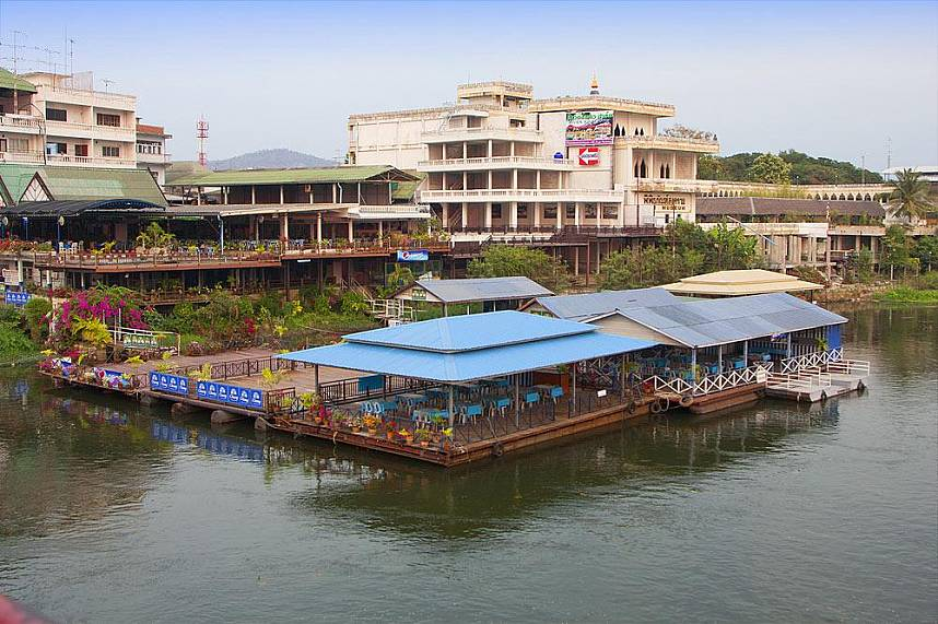 Have a delicious meal at a floating restaurant by the Bridge Over the River Kwai Kanchanaburi