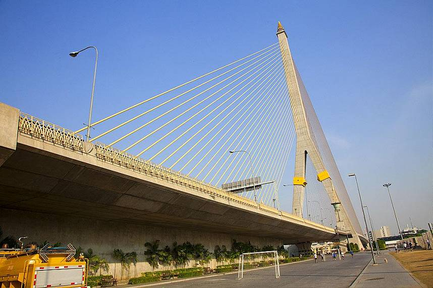 Modern bridge over Chao Phraya River Bangkok