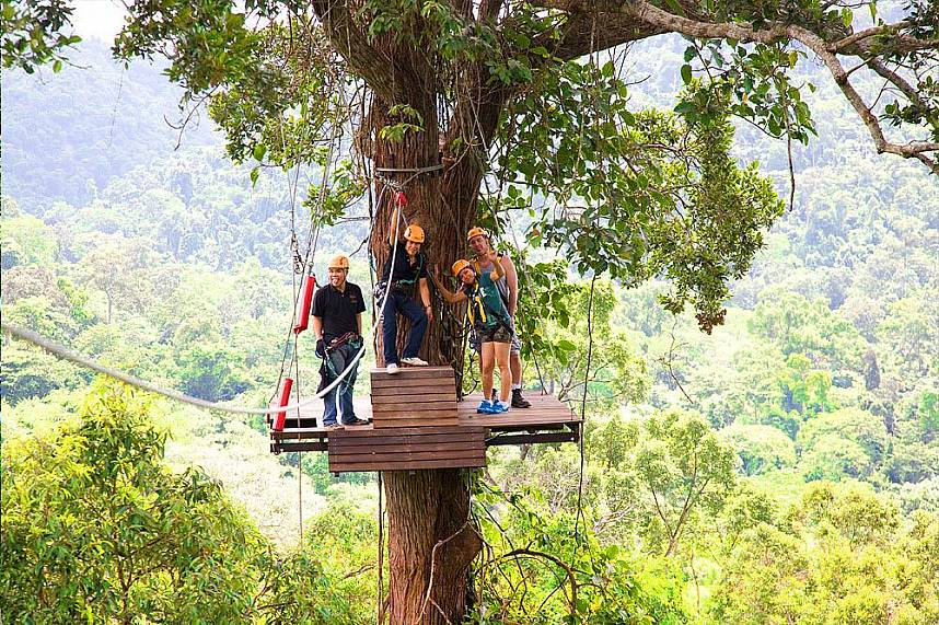 High up in the trees, the ultimate adventure at Flight of the Gibbon Pattaya