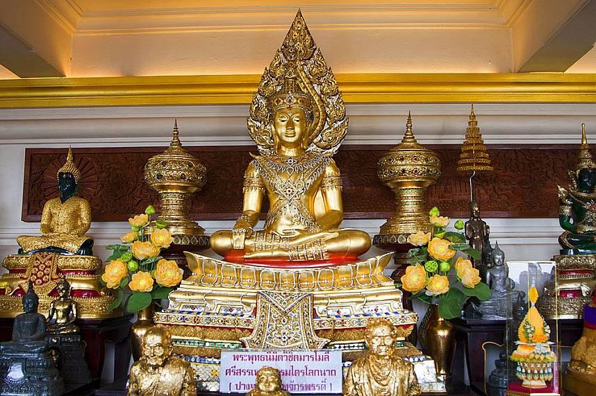 Buddha statues at Wat Srakesa Rajavaramahavihara or Phukao Thong Bangkok