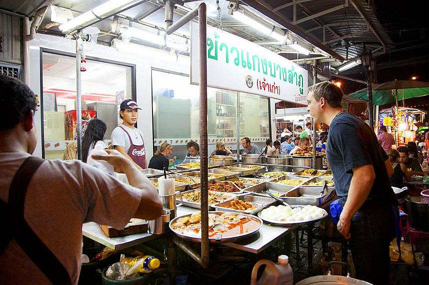 Amazing food display for the hungry tourists at Khao San Road Bangkok