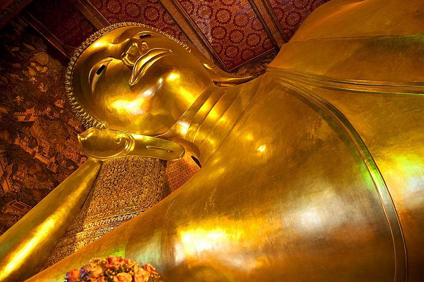 the face of the Reclining Buddha at Wat Pho Bangkok