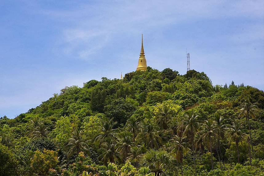 A golden chedi on the hills of Chaweng Beach Koh Samui
