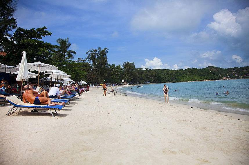 Comfortable sun beds at Choeng Mon Beach Koh Samui