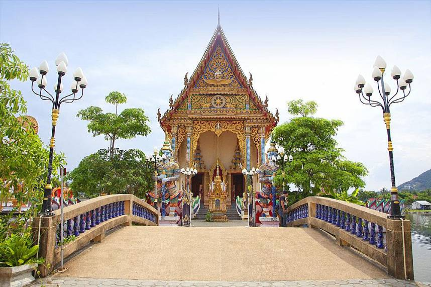 Beautiful Thai temple at Suwannaram Temple (Wat Plai Laem) Koh Samui