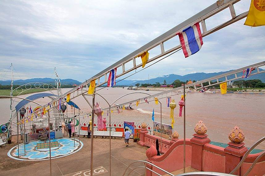 View point at Golden Triangle Chiang Rai over the Mekong river at