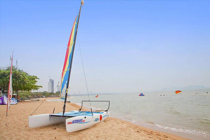 This catamaran is waiting for you at Amara Windsurfing Club Water Sports Pattaya