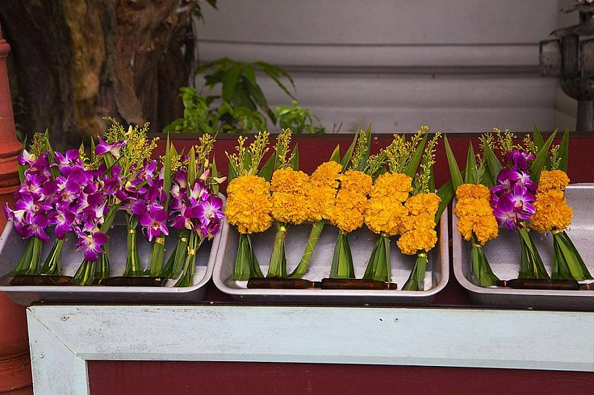 Beautiful flower offerings for the Mummiefied Monk in Koh Samui