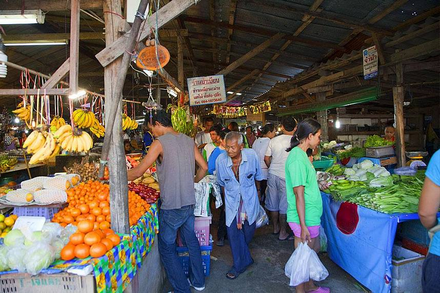 Veggies and fruits are sold as well at Koh Samui Bang Rak Fish Market