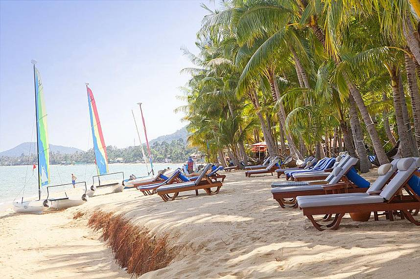 Relax under the coconut trees at Maenam Beach Koh Samui