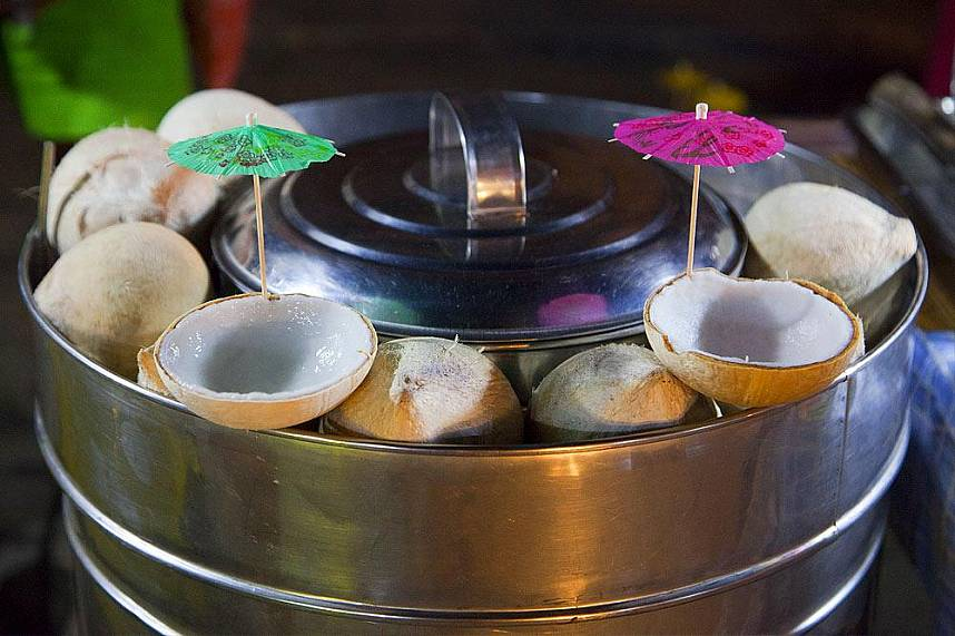 Get yourself a fresh coconut ice cream at Maenam Night Market Koh Samui