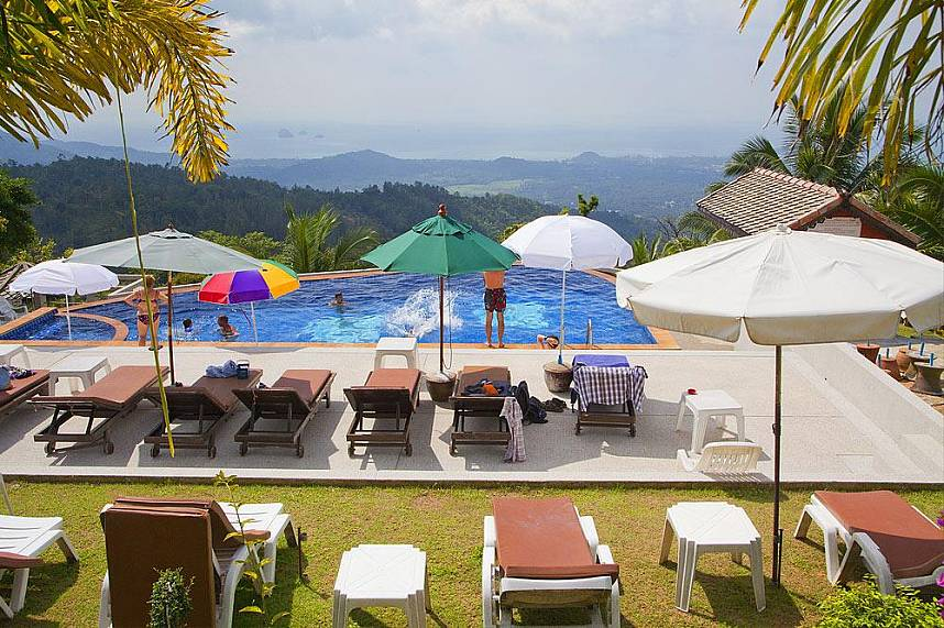 Enjoy a great view from the pool at Paradise Park Farm Koh Samui