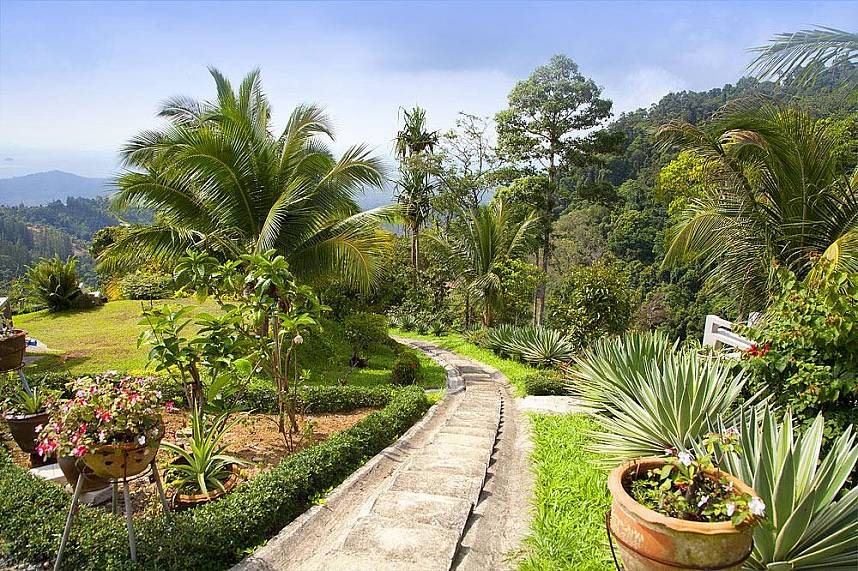 Beautiful gardens with great view over Samui at Khao Pom Paradise Park Farm