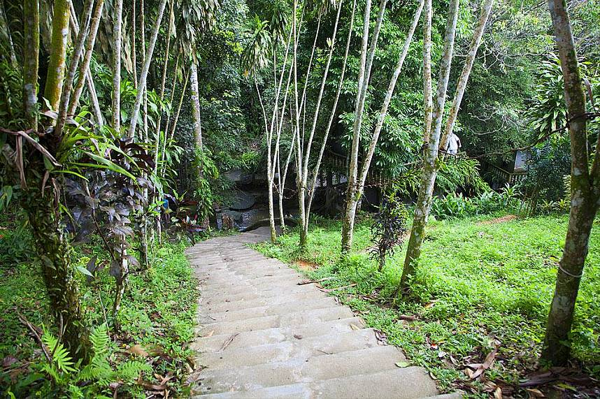 A nicely maintained path leads to Tanim Waterfall and Magic Garden Koh Samui