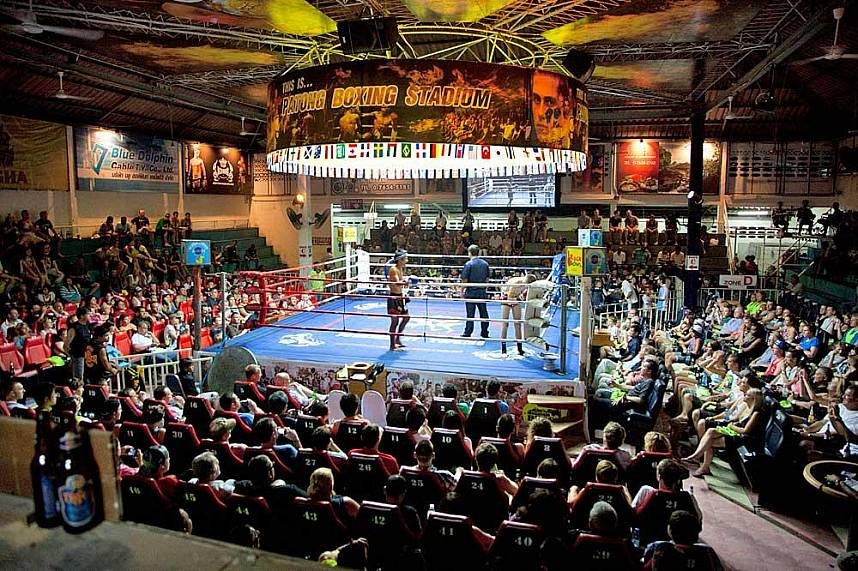 Patong Boxing Stadium in Phuket is famous among Thais and foreigners