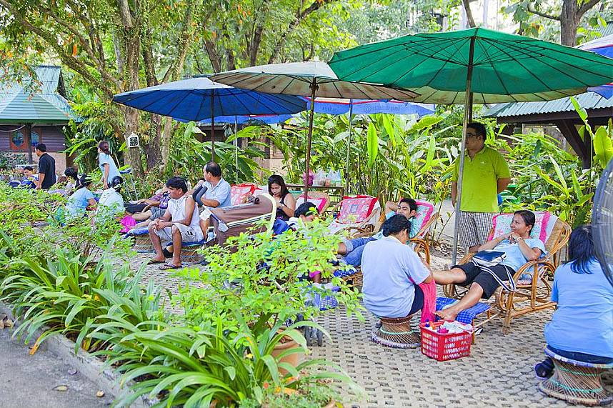Sankhampang Hot Springs Near Chiang Mai is a famous tourist attraction