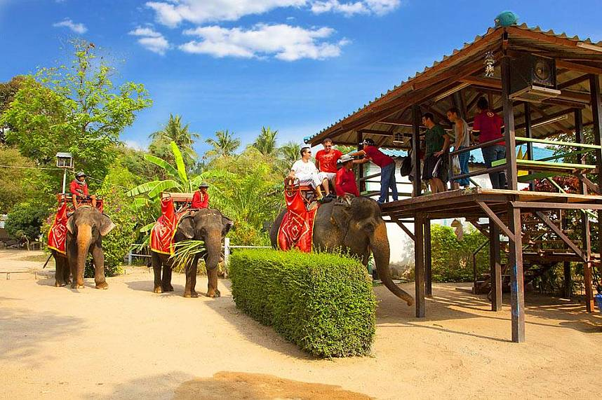 Elephant ride at Changthai Thappraya Safari and Adventure Park