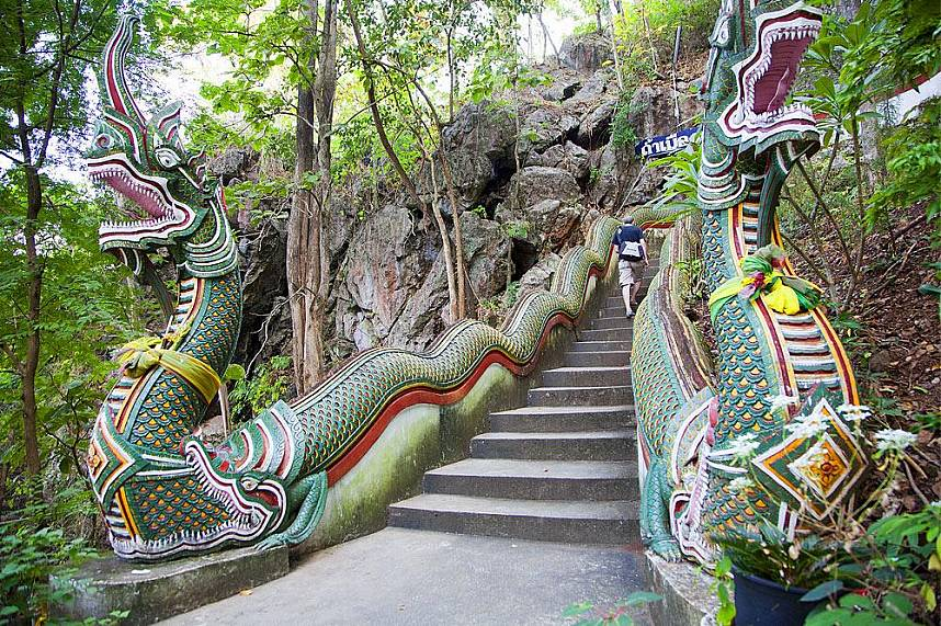 A staircase leads to the entrance of Muang On Cave Chiang Mai