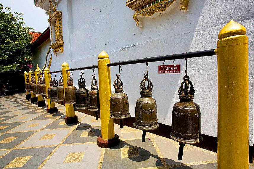 The bells around Doi Suthep Temple are for good luck