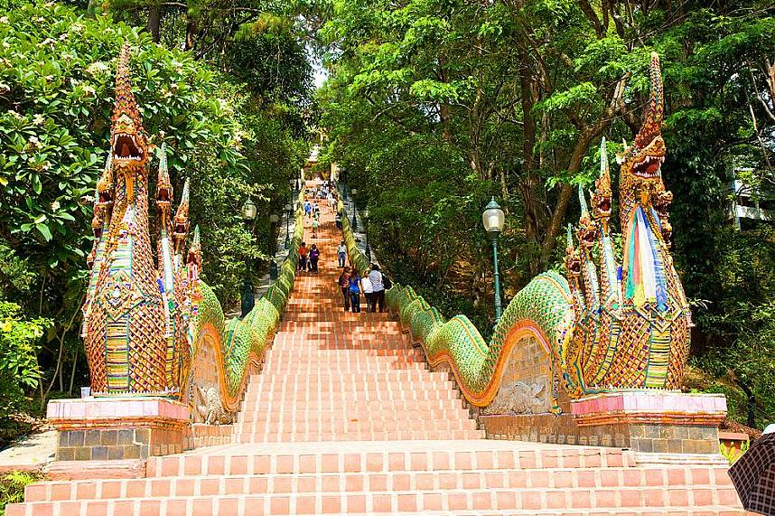 Conquer the long stairway to Doi Suthep Temple for a tremendous sights