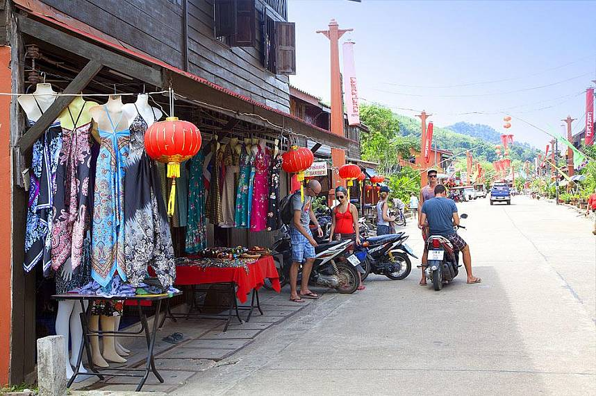 the old town of Koh Lanta has some colorful small shops