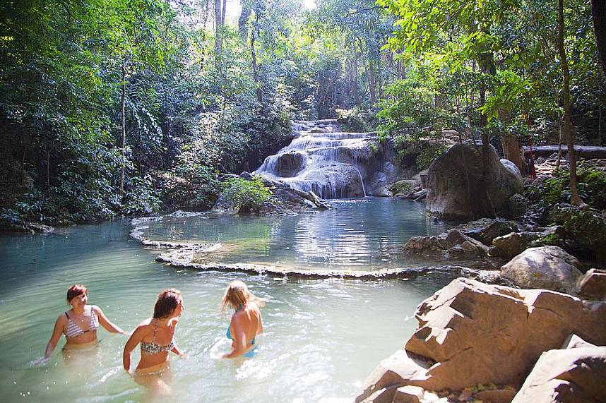 Join in for a day trip to Erawan Waterfall in Kanchanaburi