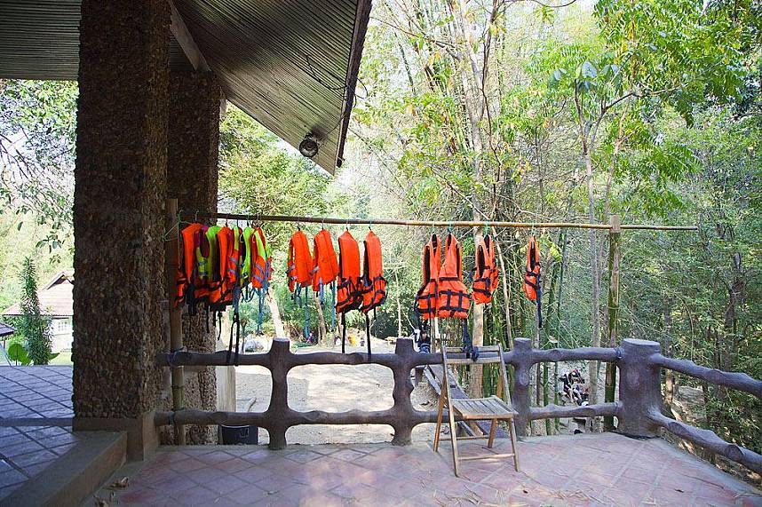 At Erawan Waterfall in Kanchanaburi you can rent some safety swim gear for the whole family