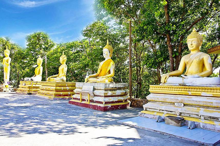 The path at Big Buddha Hill Pattaya is seamed by many Buddha statues