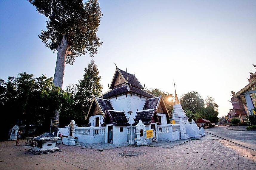 This mall temple shrine in one of the many Thai Temples in Chiang Mai