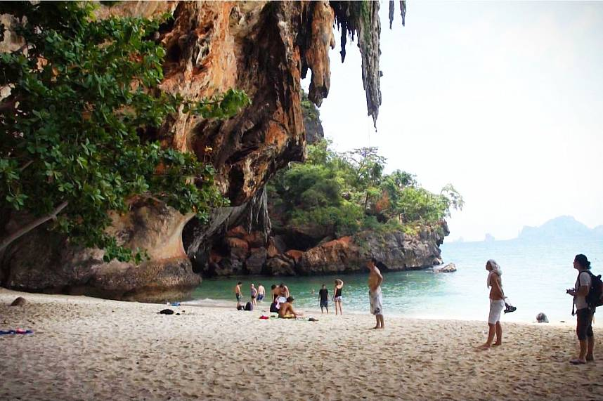 Amazing rock formations, white sand and clear water at Railay Beach Krabi