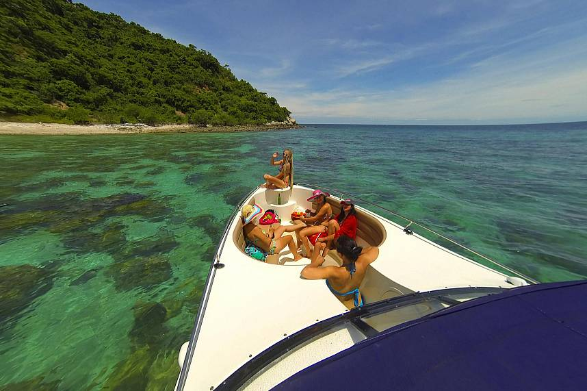 comfortable Pattaya Boat Charter tours to remote places with clear water