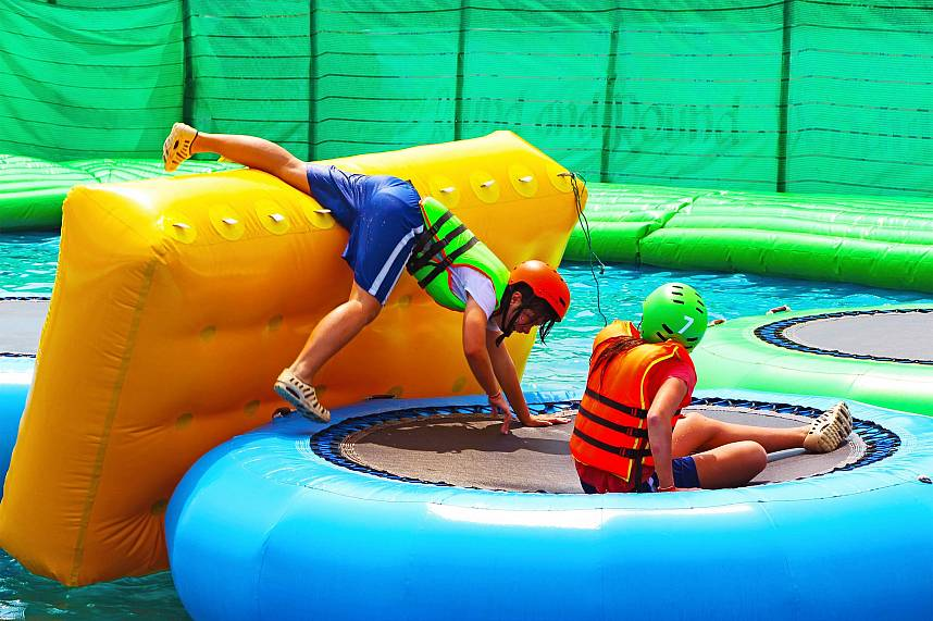 Acrobatics are so much fun during a family holiday at Splashdown Waterpark Pattaya