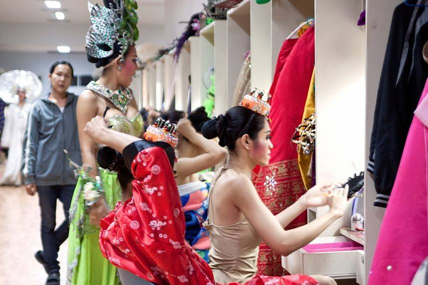 the ladyboys dress up for their Colosseum Cabaret Show in Pattaya