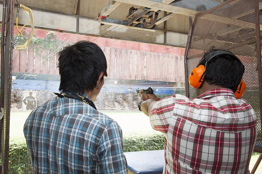 Experience some gun shooting at Pattaya Park Shooting and Adventure during your Pattaya holiday