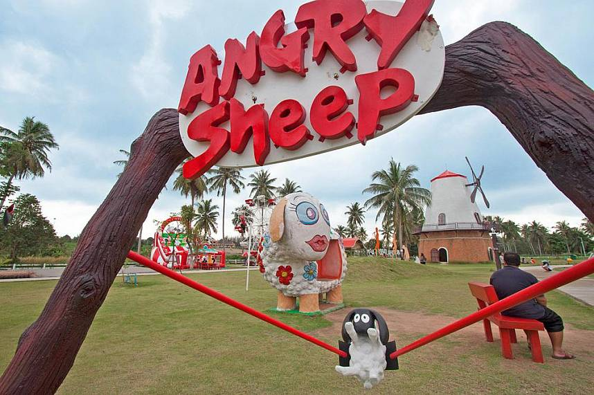 The Angry Sheep is one of many highlights at Pattaya Sheep Farm Banglamung
