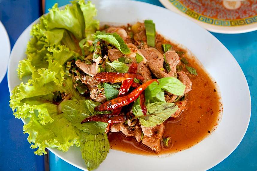A traditional spicy dish served at Som Tum Pa Mon Pattaya restaurant
