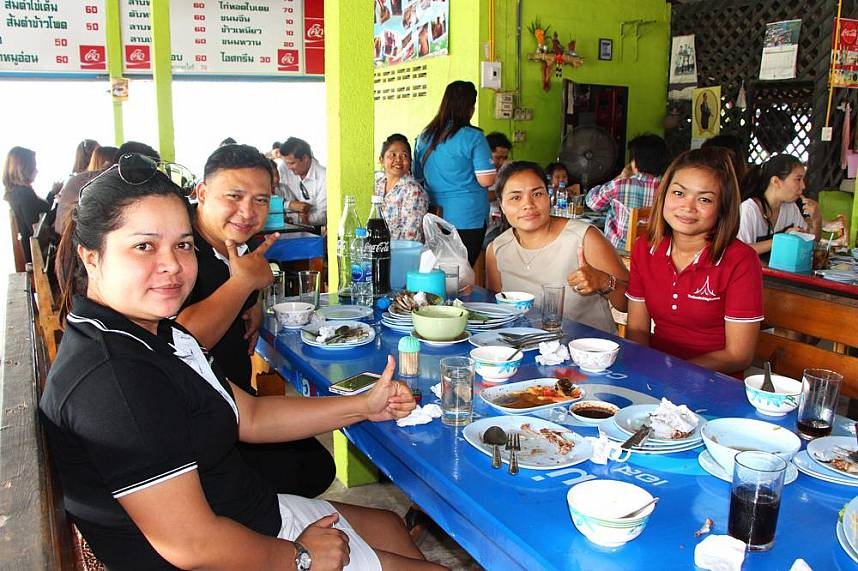 Thais love the traditional Thai food served at A customer at Pa Mon restaurant in Pattaya