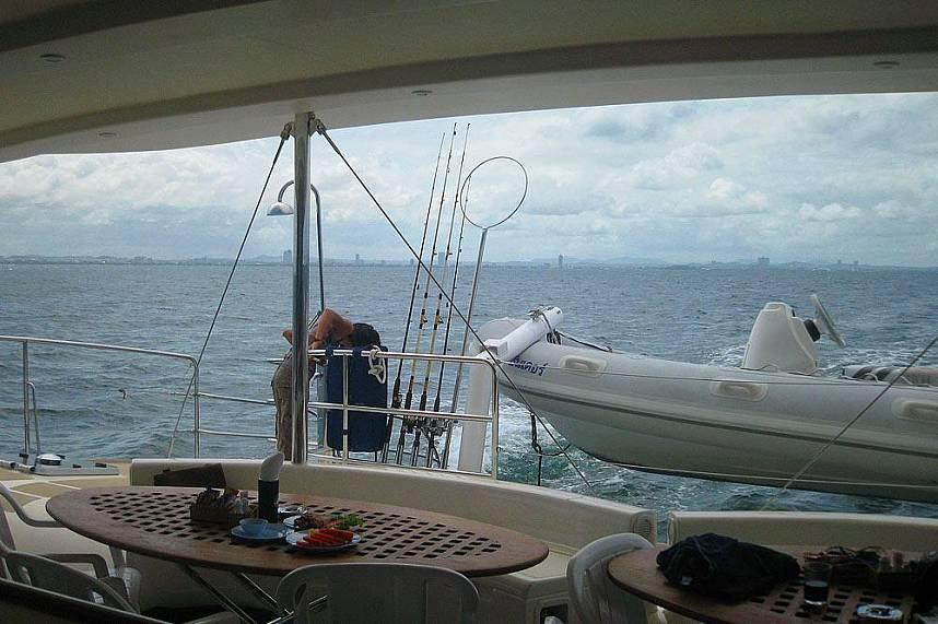 The Serenity Catamaran cruises of the coast of Pattaya