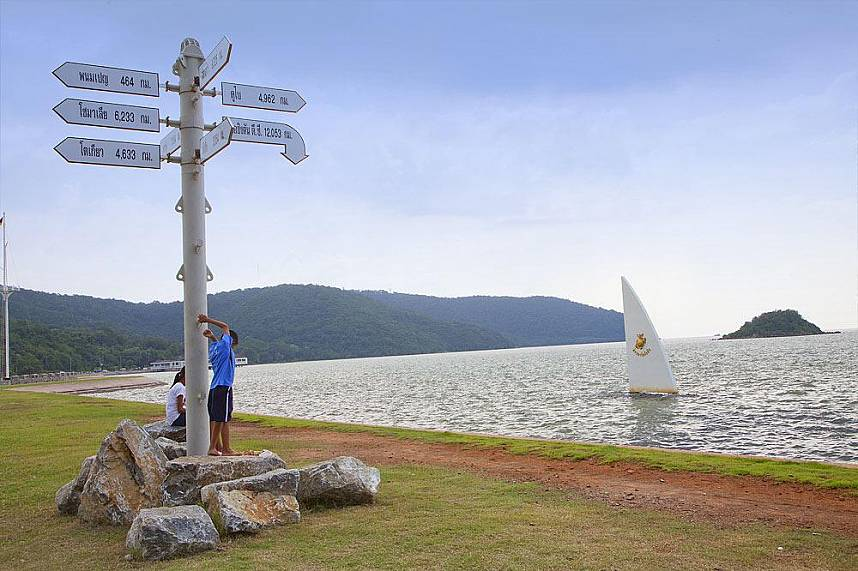 Thais enjoy the serene surrounding of Sattahip Navy Toei Ngam Beach i